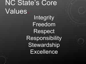 NC State's core values. Integrity. Freedom. Respect. Responsibility. Stewardship. Excellence.
